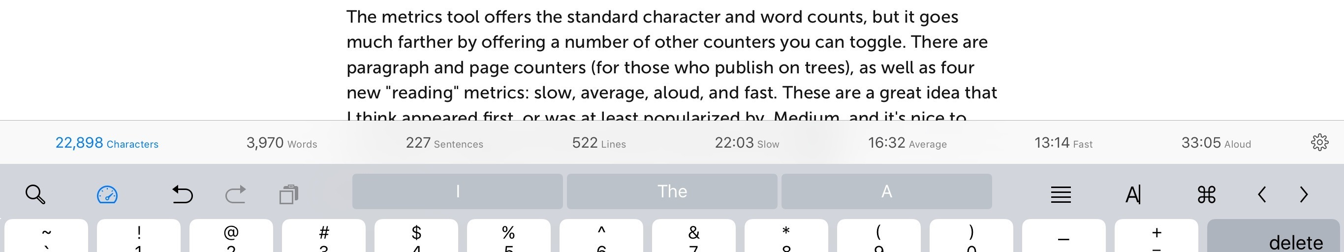 Metrics in Ulysses can include sentence and paragraph length, and new reading time measurements.